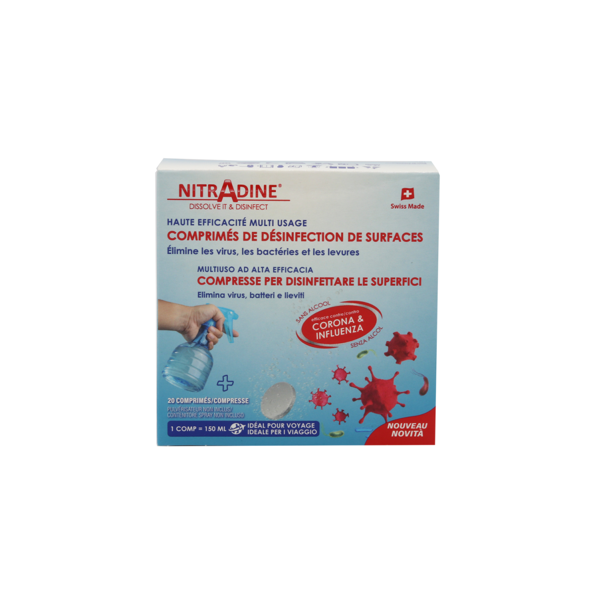 Nitradine Surface Disinfectant Tablets, 20 tablets